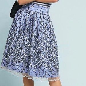 Anthropologie Eliza J Blue Tulle Skirt Embroidered